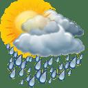 Sol com muitas nuvens durante o dia. Períodos de nublado, com chuva a qualquer hora.