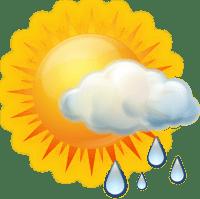 Sol e aumento de nuvens de manhã. Pancadas de chuva à tarde e à noite.
