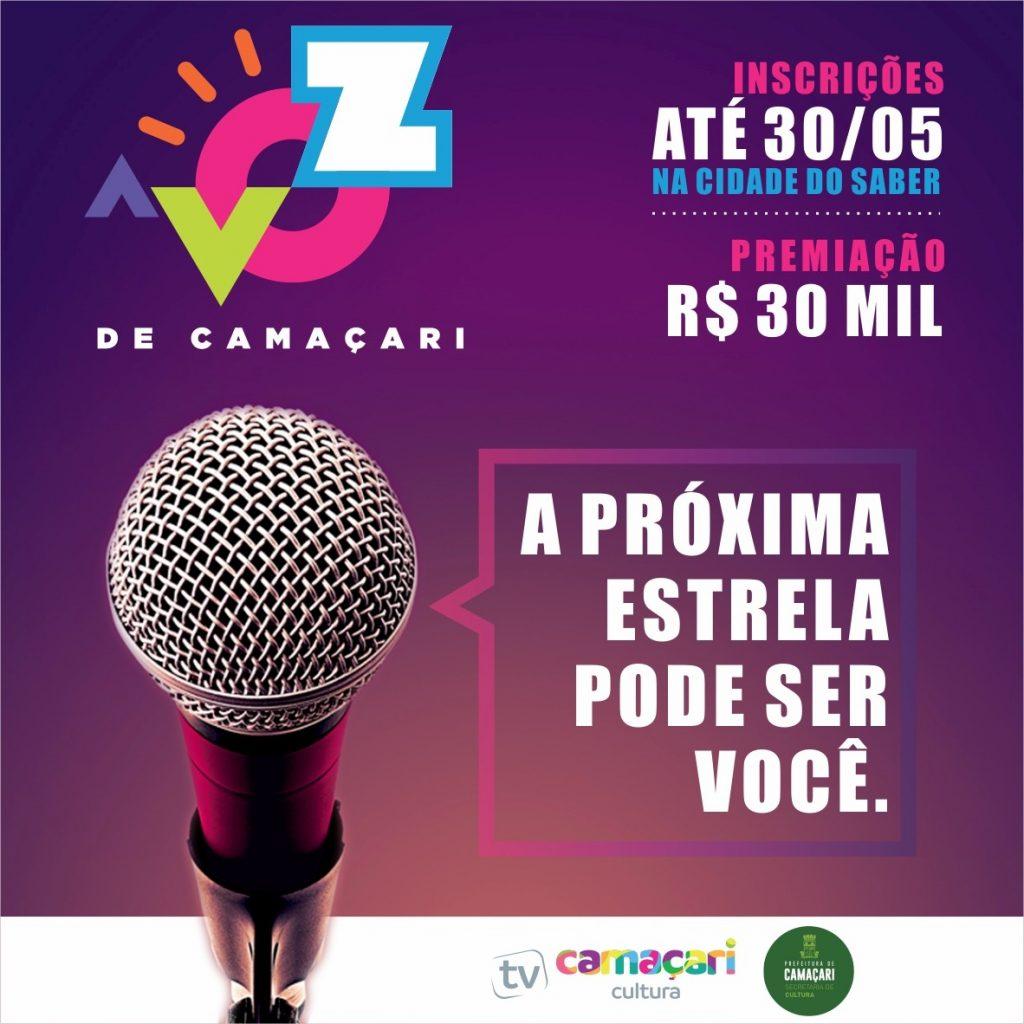 Concurso Cultural A Voz de Camaçari tem inscrição até dia 30 de maio 2