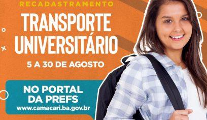 Recadastramento do transporte universitário segue até 30 de agosto