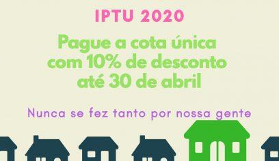 Cota única ou primeiras parcelas do IPTU vence dia 30 de abril